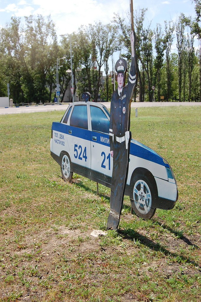 cardboard police car in Russia | To remind people to obey ...
