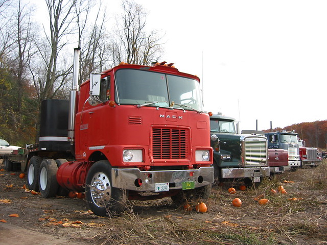 MACK - Cab Over Engine Tractor Trailer | Big Faded Red Mack … | Flickr - Photo Sharing!