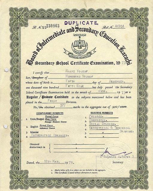 MATRICULATION CERTIFICATE | Secondary School Certificate ...