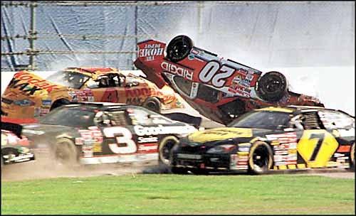 Nascar Daytona 500 Tony Stewart 20 Flies Upside Down