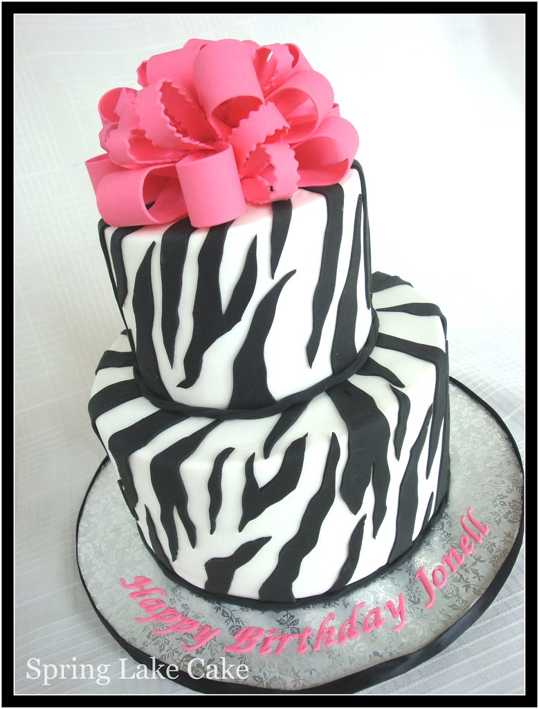 Cake With Zebra Design : Zebra Print Cake I believe this was for a 50th birthday ...