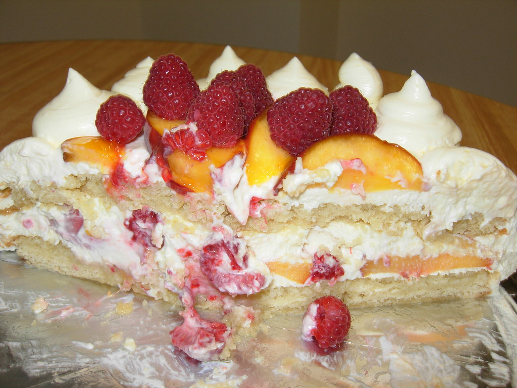 Peaches And Cream Birthday Cake