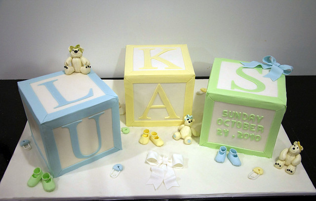 large baby block baptism cake Flickr - Photo Sharing!