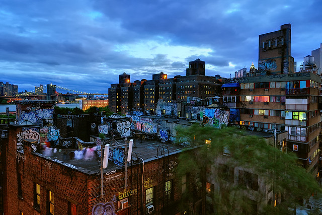 Twilight Chinatown Rooftop Graffiti And Brooklyn Bridge