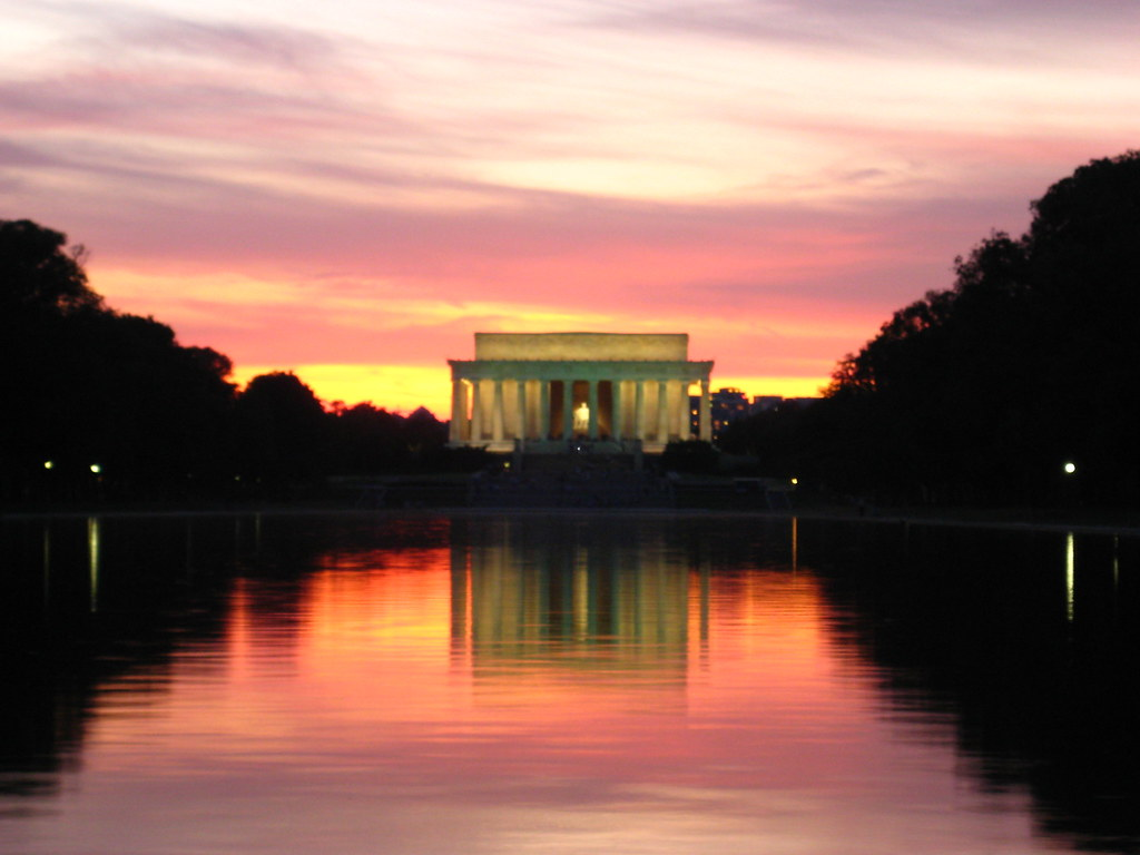 Sunset At The National Mall Lincoln Memorial Ashoe
