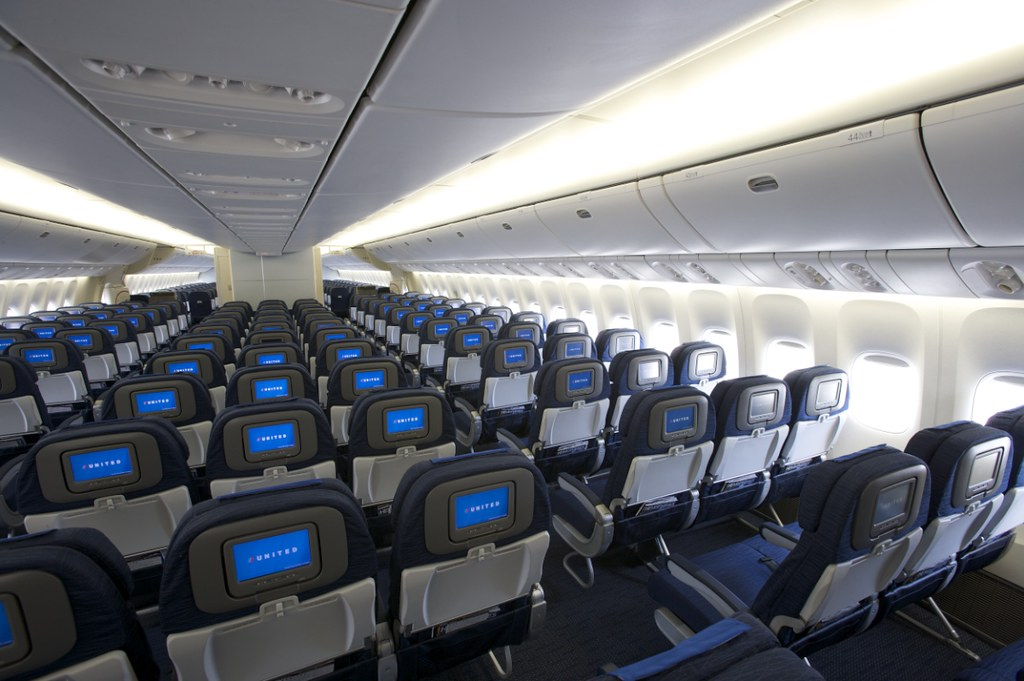 united airlines boeing 777 new economy cabin interior flickr
