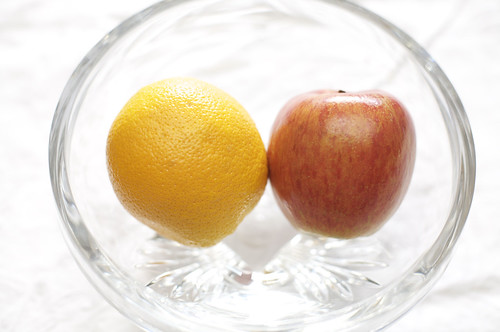 completely different idea for strikingly different elements: open produce: disparate fruit compared