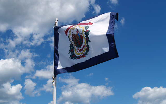 West Virginia Flag Mounted On The Boat That Took Us To
