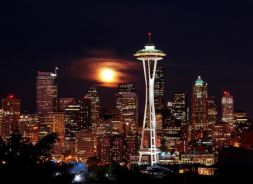 Blue Moon Rising Over Seattle | by David M Hogan