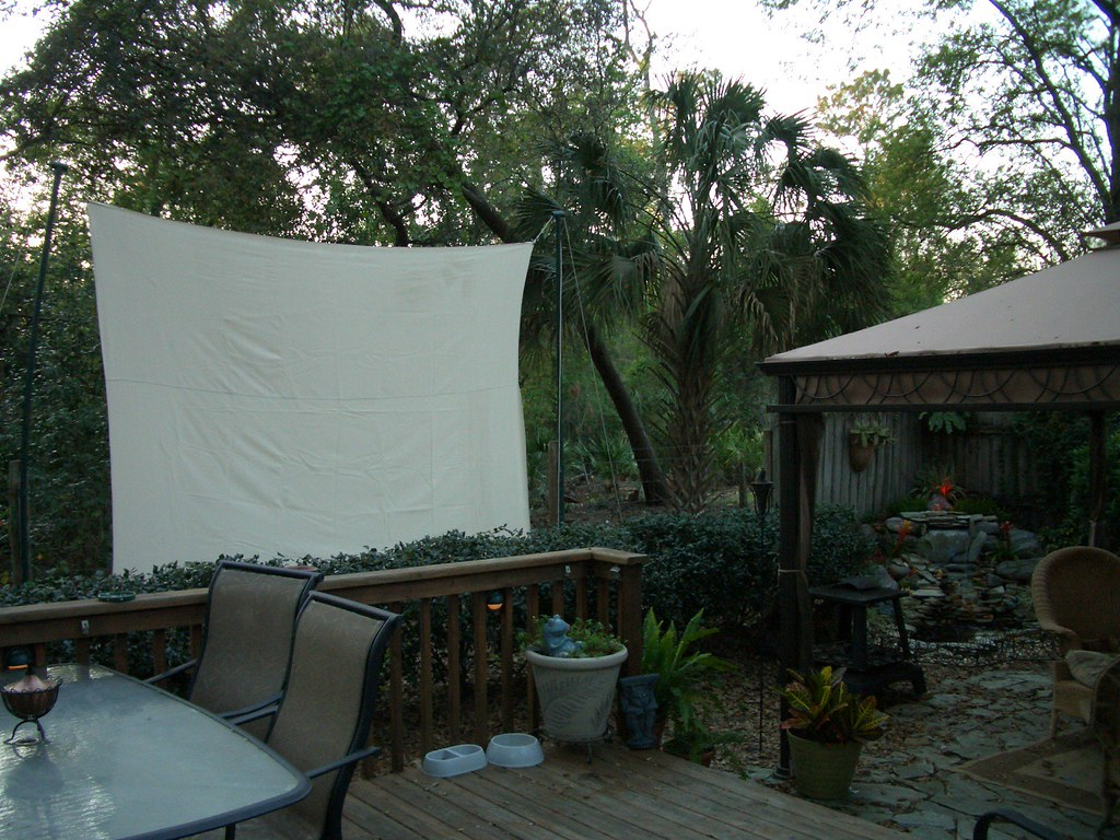 backyard theater a canvas painters drop cloth 12ft wide flickr. Black Bedroom Furniture Sets. Home Design Ideas