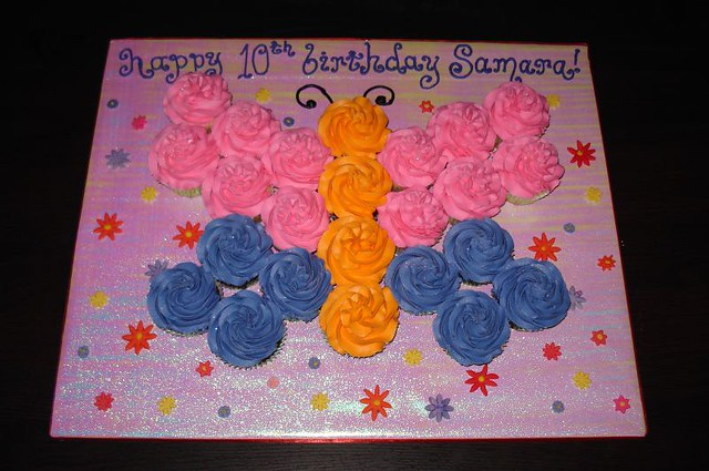 Birthday Cake Ideas Made Out Of Cupcakes : Butterfly Cupcake Cake Girl s birthday cake made out of ...