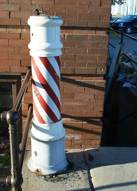 barber pole there was a barber shop in the basement of the