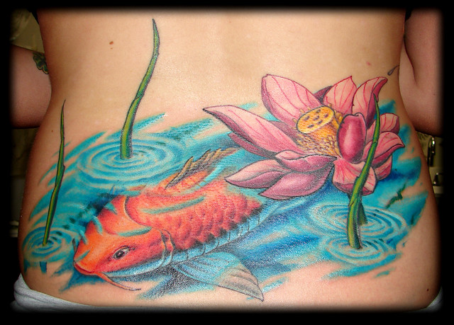 Koi back lotus tattoo flickr photo sharing for Koi pond tattoo
