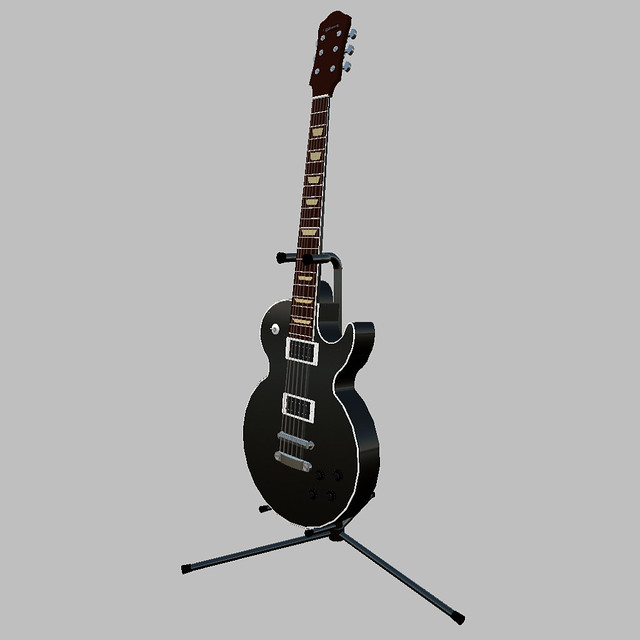 Black les paul gibson guitar with stand avatrian flickr for Les stands brignais