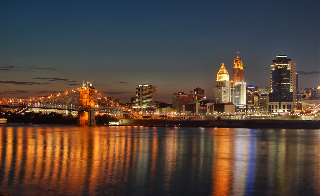Cincinnati >> Cincinnati skyline at sunset. | Cincinnati, Ohio 8-23-07. My… | Flickr