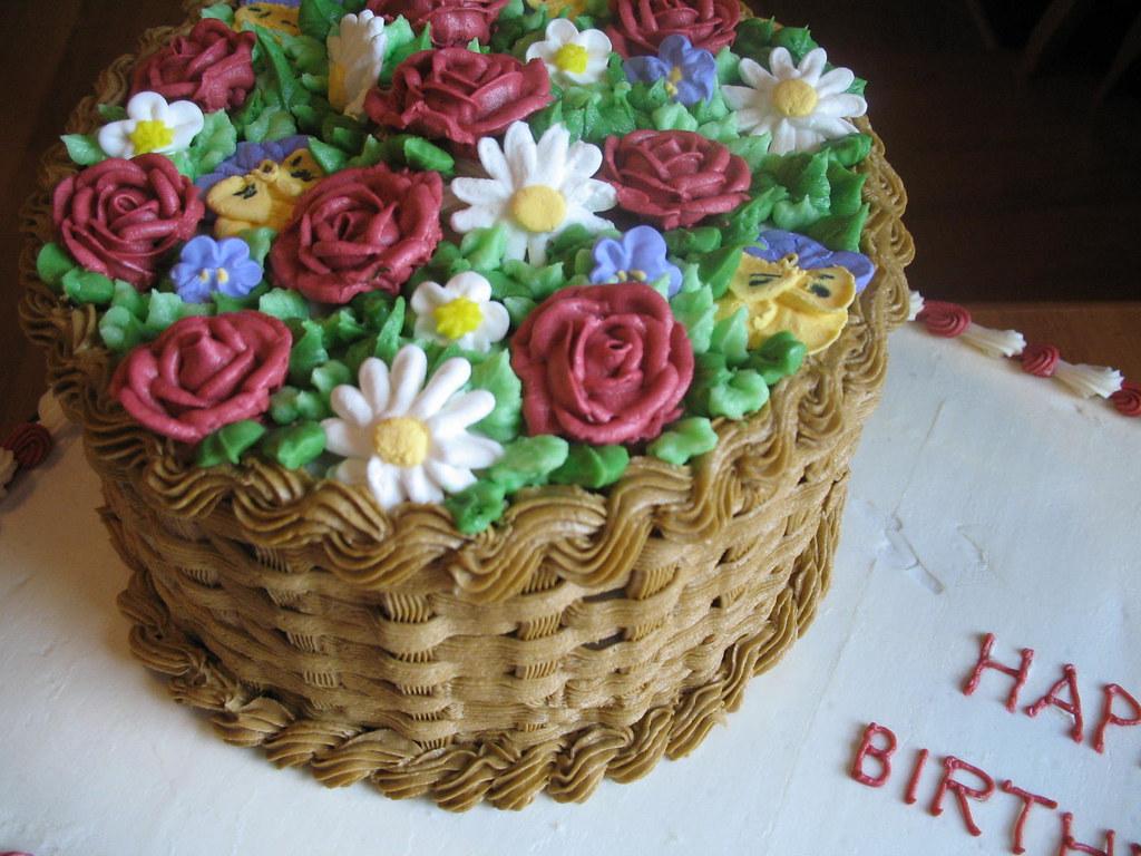 Flower Basket Cake Decoration