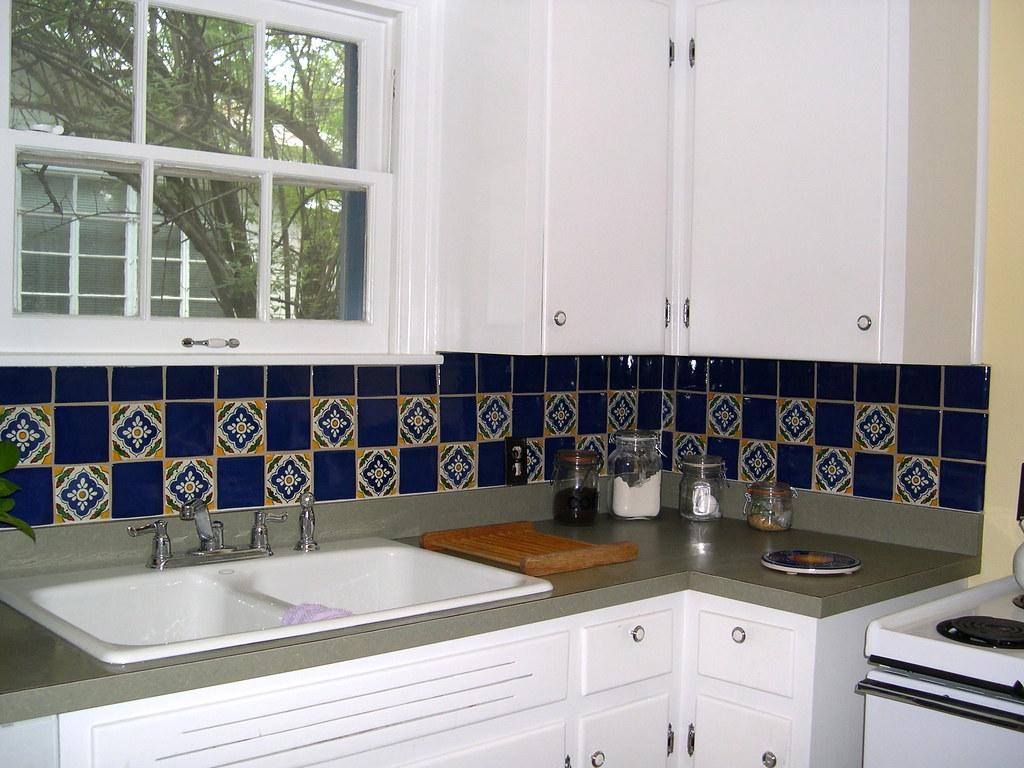 mexican tile backsplash cobalt blue and talavera tile