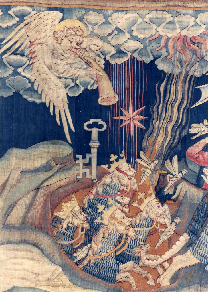 Angers, castle, tapestry, apocalypse, detail  groenling