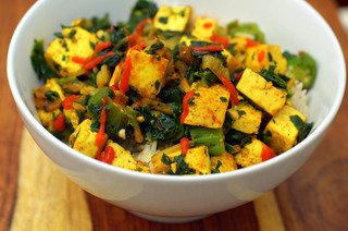 tofu, spinach and okra stirfry | by sassyradish