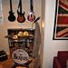 rock band instruments+guitar hero+dj hero+dance dance revolution pads+mic stand+video game room