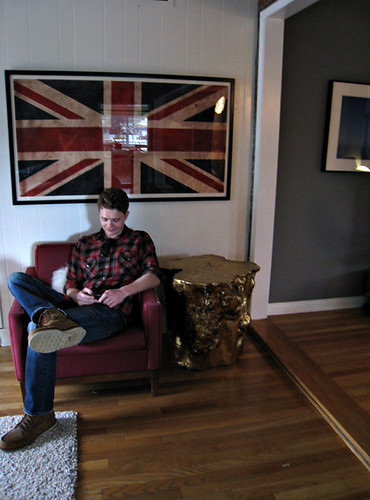 game room+decorating process+union jack flag print+gold stumps+vintage modern chair+timmy | by ...love Maegan