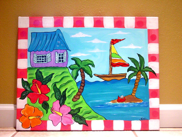 Tropical beach ocean sea painting kids wall art canvas nur for Step by step canvas painting for kids