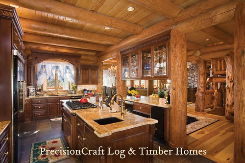 Utah custom milled log home kitchen precisioncraft log h for Kitchen ideas for log homes