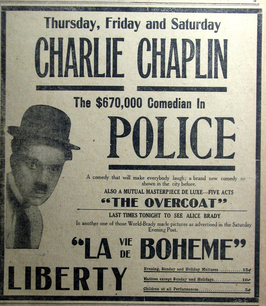 Original 1916 Newspaper Advert For Charlie Chaplin Silent