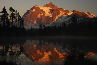 Sunset on Picture Lake and Mount Shuksan | by aribix