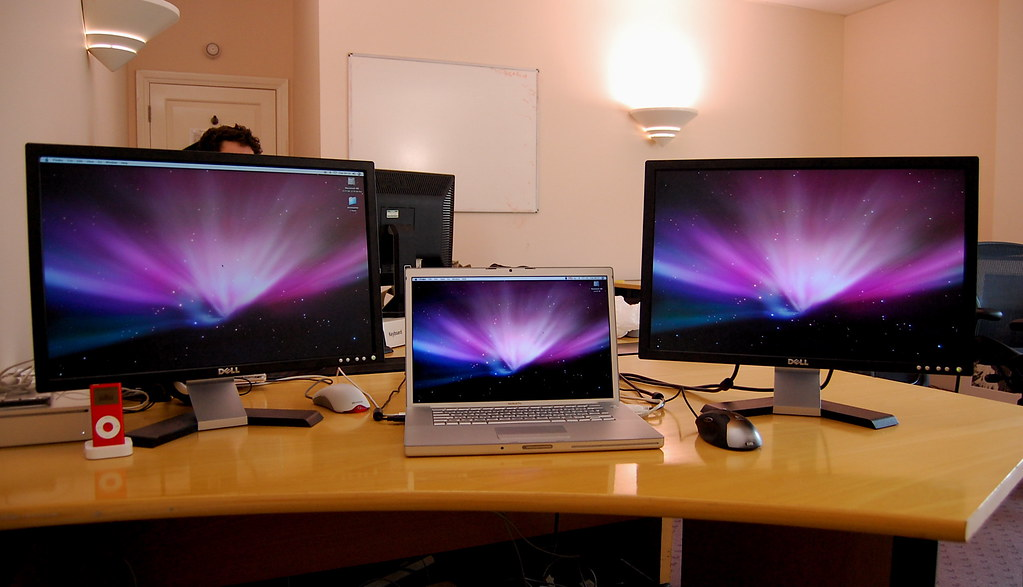New Desktop Setup On The Left A Mac Mini With A 22