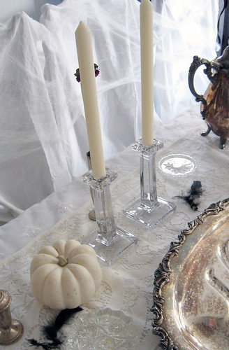 haunted tabletop halloween decor+white pumpkins+candlesticks+cobwebs+black feathers+tarnished silver+dark | by ...love Maegan