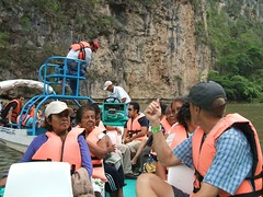 Randy on the boat in the Canyon in Chiapas