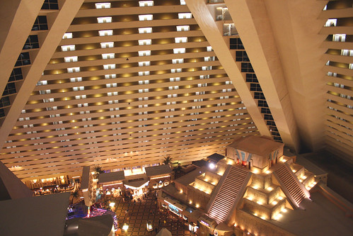 View of the inside of the pyramid at the Luxor Hotel, Las Vegas | by Jay Tilston