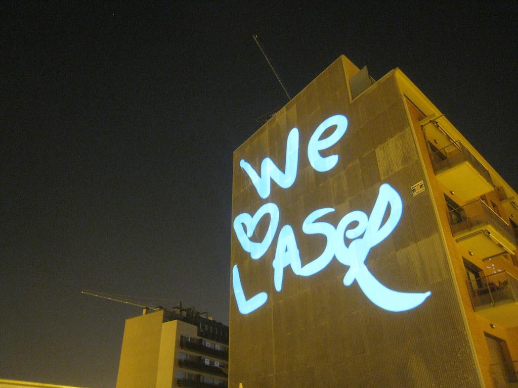 laser message on building  barcelona