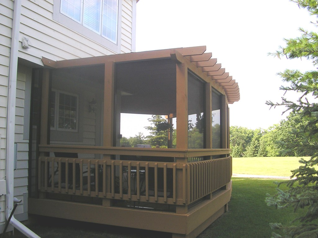 After Screened in Pergola with Shade Screen Cover  Trendset ...