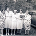 5 ladies standing in front of car 1940's