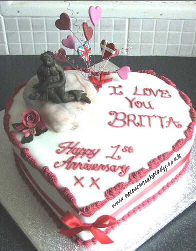 Danish Mermaid 1st Anniversary Heart Shaped Cake Based