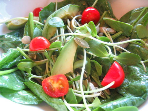 spinach salad with avocado | by tofu666