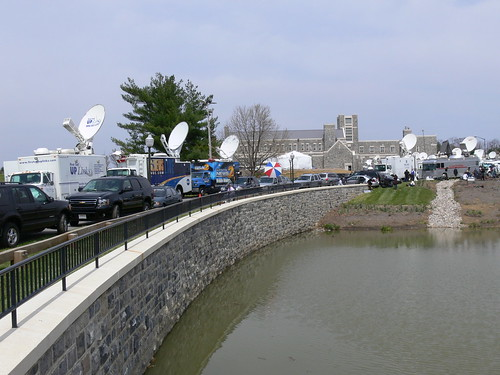 Satellite Trucks at the Virginia Tech Inn | by cbowns