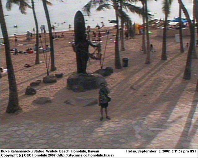 That's Me on a Waikiki Webcam | Thanks to erglantz in New Je