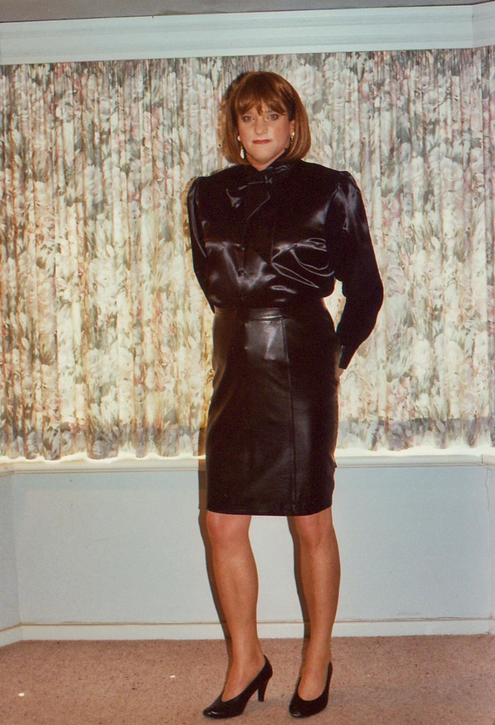 Leather Skirt 1A  Leather Skirt And Satin Blouse -1306