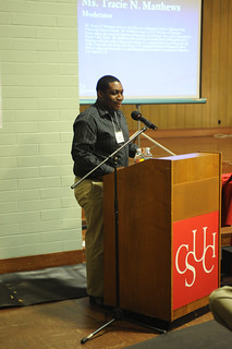 CI student speaking at Now & Then: The Quest for Black Citizenship | by California State University Channel Islands