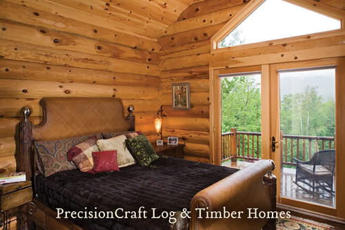 Custom Designed Milled Log Home Bedroom Log Home In Main