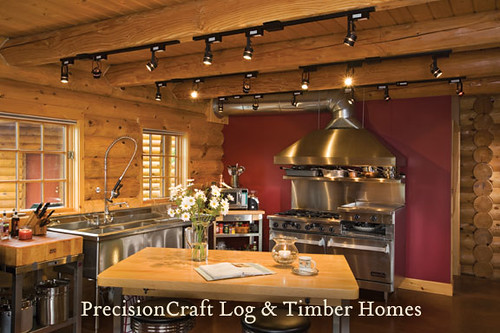 custom kitchen lighting custom kitchen in a milled log home located in maine b 3063