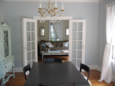 Dining room new white curtains ikea lenda ariana Touch of grey benjamin moore