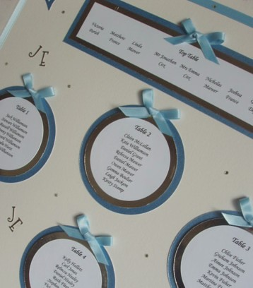 Wedding Table Plan - Blue Silver, White | Silver and blue ta ...