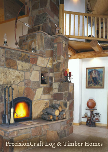Unique fireplace design custom log home design by prec flickr - House plans with fireplaces ...
