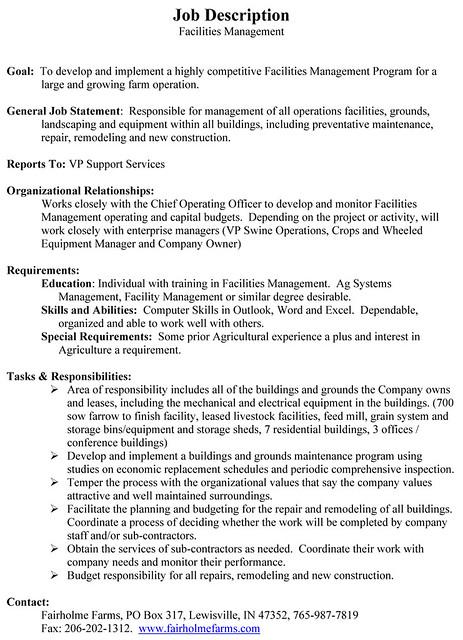 Data Center Facilities Manager Job Description | Twhois Resume
