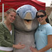 Tsunami the dolphin with students during Dolphin Fountain Dedication