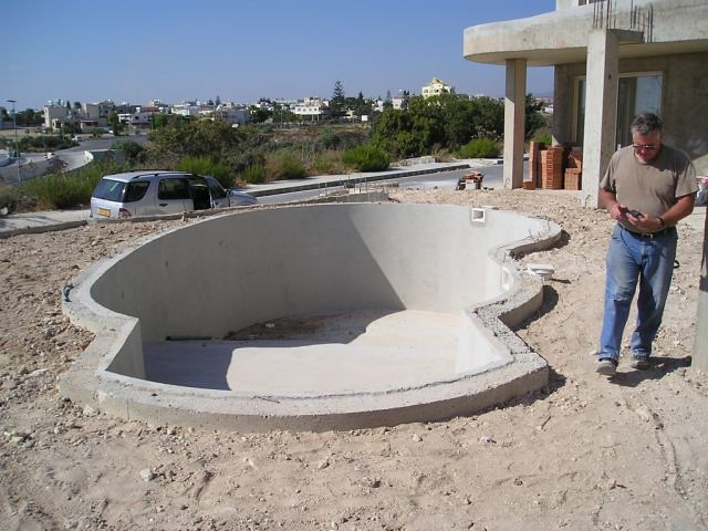 Cyprus simming pool construction cyprus swimming pool for Concrete swimming pool construction